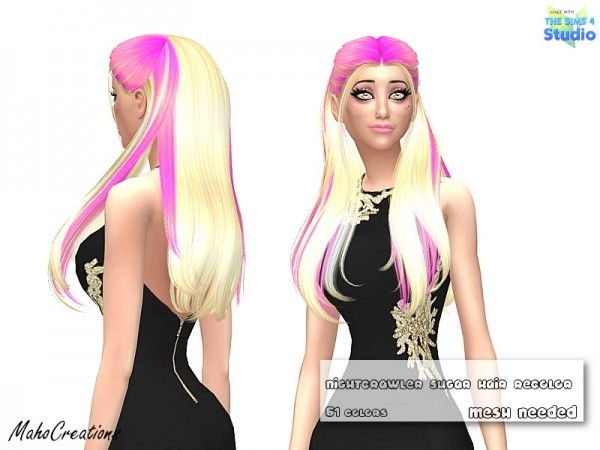 The Sims Resource: Nightcrawler`s Sugar Hair Recolored by Maho Creations for Sims 4