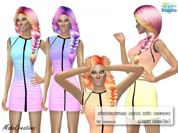 The Sims Resource: Nightcrawler Pearl Hair Recolored by MahoCreations for Sims 4