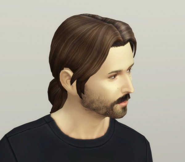 Rusty Nail: Derek`s ponytail hair for Sims 4