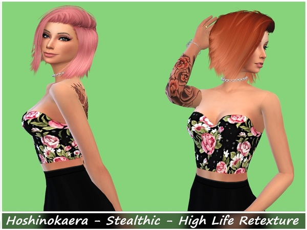 The Sims Resource: Stealthic`s  High Life hair retextured by Hoshinokaera for Sims 4