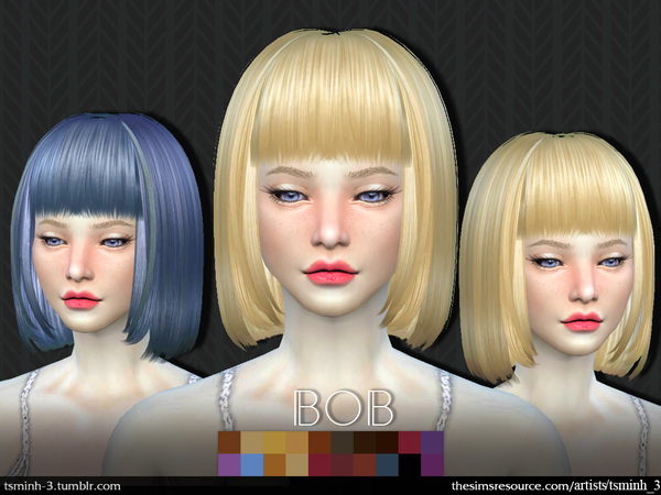 The Sims Resource: Bob hair by tsminh 3 for Sims 4