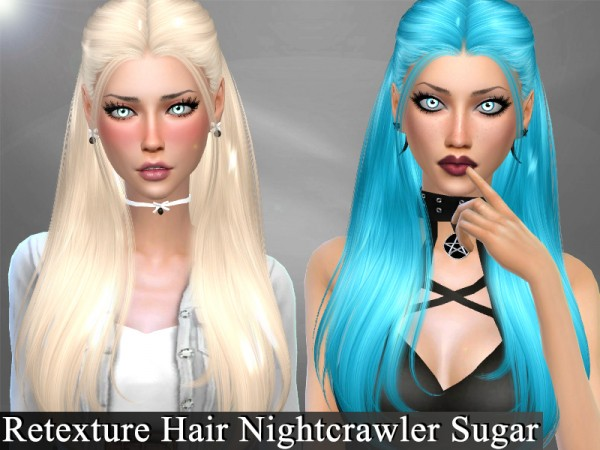 The Sims Resource: Nightcrawler`s Sugar hair retextured by Genius666 for Sims 4