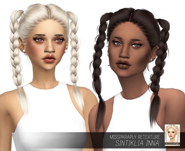 Miss Paraply: Sintiklia`s Inna hair retextured for Sims 4