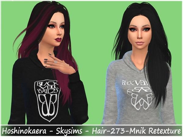 The Sims Resource: Skysims Hair 273 Mnik hair retextured by Hoshinokaera for Sims 4