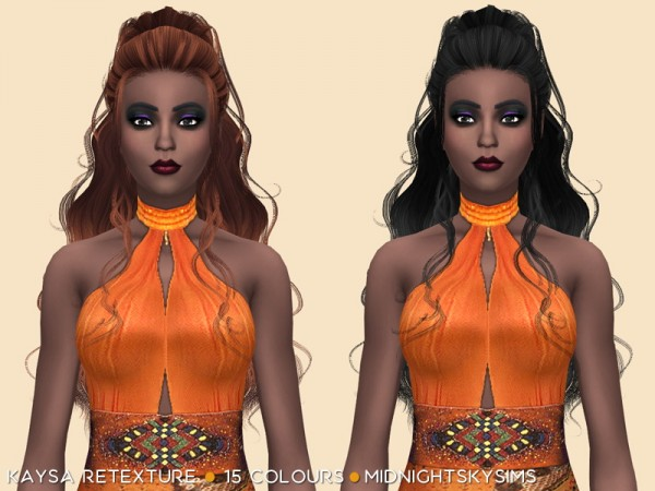Simsworkshop: Kaysa hair natural colors retextured by midnightskysims for Sims 4