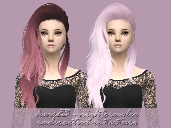 The Sims Resource: Nightcrawler`s  hair23 retextured by radioactive mess for Sims 4