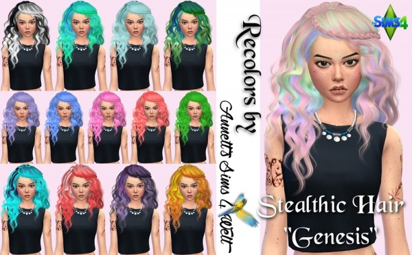 Annett`s Sims 4 Welt: Stealthic  Genesis hair recolors for Sims 4