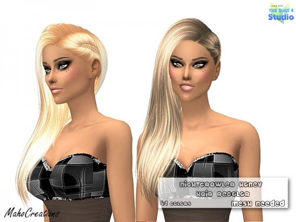 The Sims Resource: Nightcrawler`s Honey Hair Recolorred by MahoCreations for Sims 4