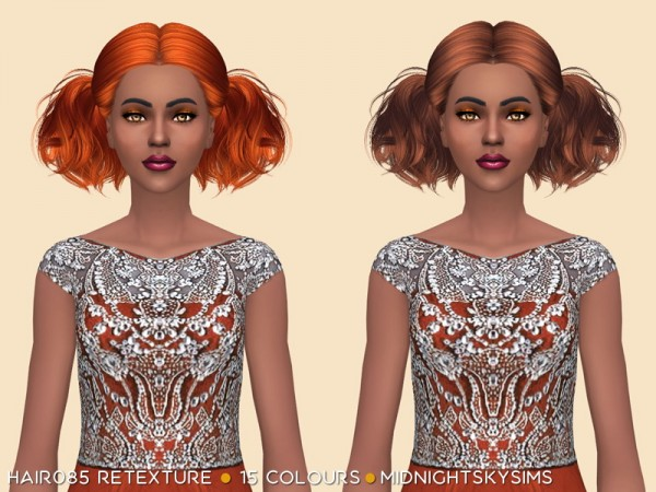Simsworkshop: Hair 085 Retexture Natural colors by midnightskysims for Sims 4