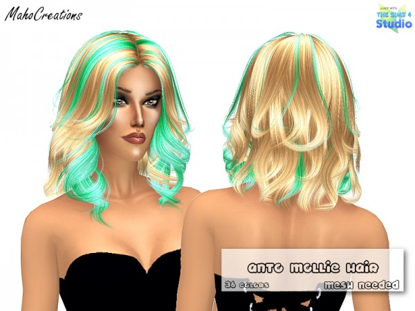 The Sims Resource: Anto`s Mollie Hair Recolored by MahoCreations for Sims 4