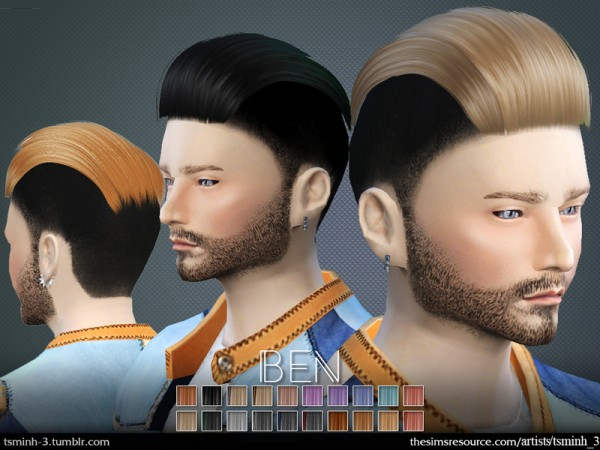 The Sims Resource: Ben hair 4 by tsminh 3 for Sims 4
