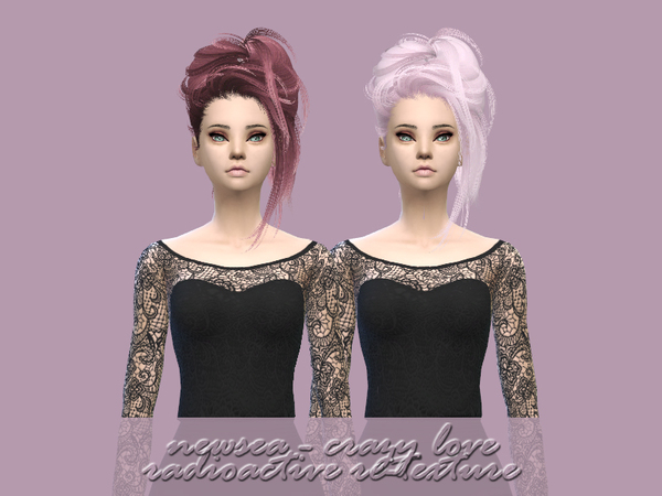 The Sims Resource: Newsea`s Crazy Love hair retextured by radioactive mess for Sims 4