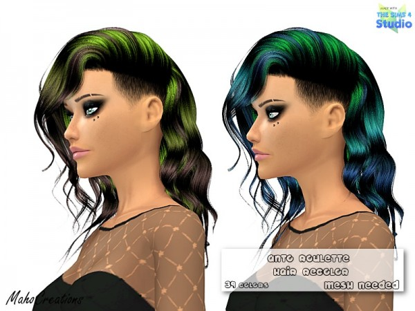 The Sims Resource: Anto Roulette Hair Recolored by MahoCreations for Sims 4