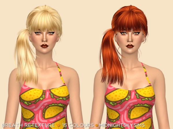 Simsworkshop: Breath hair natural colors retextured by midnightskysims for Sims 4