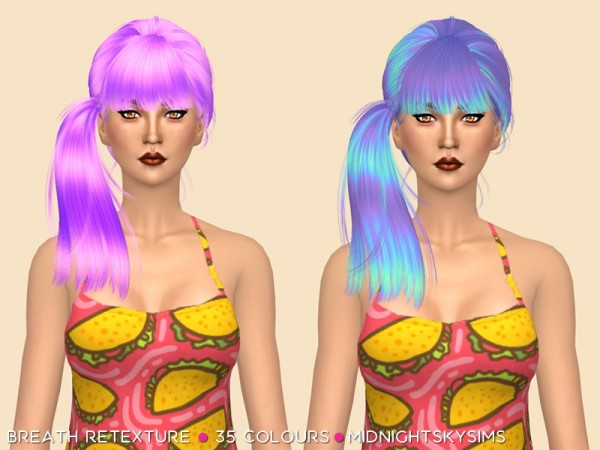 Simsworkshop: Breath hair unnatural colors retextured by midnightskysims for Sims 4