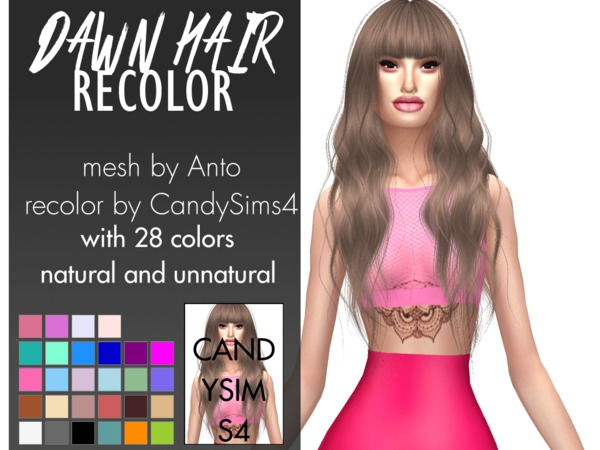 The Sims Resource: Anto`s Dawn hair recolored by c4ndypr1ncess for Sims 4
