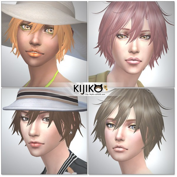 Kijiko Sims: Shaggy long hair for her for Sims 4
