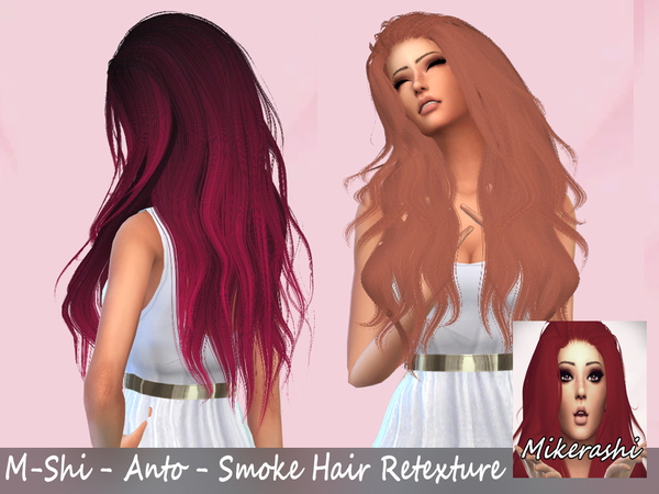 The Sims Resource: Anto`s Smoke Hair Retextured by mikerashi for Sims 4