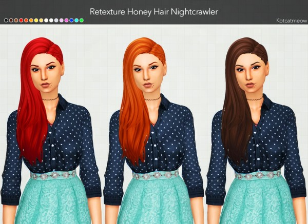 Kot Cat: Nightcrawler Honey Hair Clayified for Sims 4