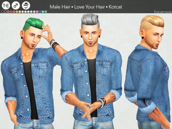 Kot Cat: +100 Followers gift!  Love Your Hair for Sims 4
