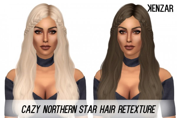 Kenzar Sims: Cazy's Northern Star hair retextured for Sims 4