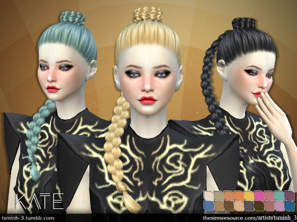 The Sims Resource: Hair 7 Kate by tsminh 3 for Sims 4