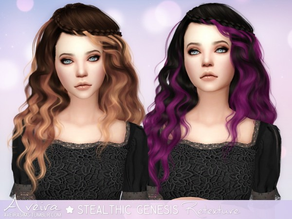 Aveira Sims 4: Stealthic`s Genesis hair retextured for Sims 4