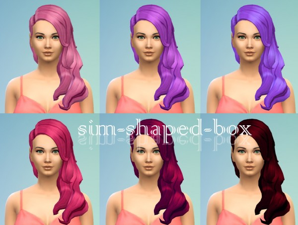 Sim Shaped Box: Hair in 6 pink andpurple colours for Sims 4