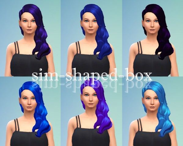 Sim Shaped Box: Hair in 7 blue colours for Sims 4