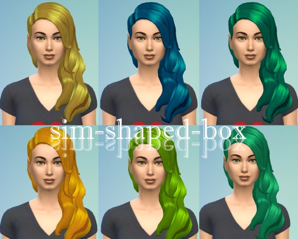 Sim Shaped Box: Hair in 7 green and yellow colours for Sims 4