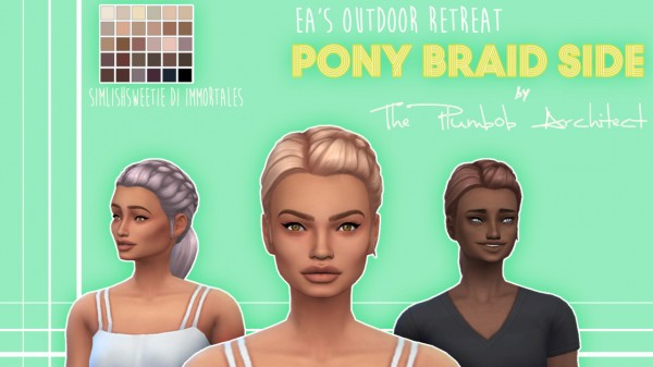 The Plumbob Architect: Pony Braid Side hair for Sims 4