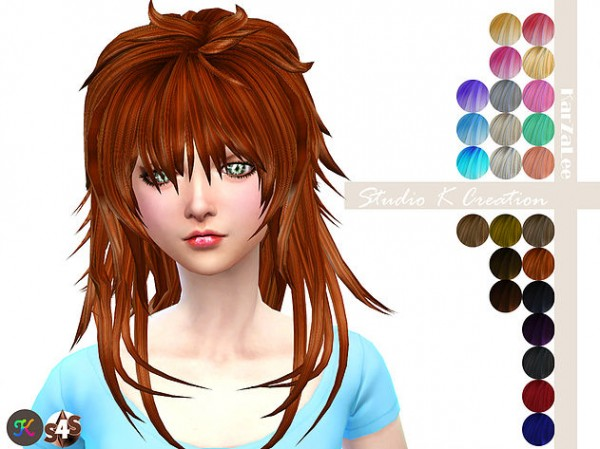 Studio K Creation: Animate hair 57   AOBA for Sims 4