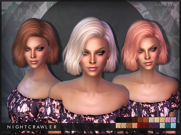 The Sims Resource: Confetti hair by Nightcrawler for Sims 4