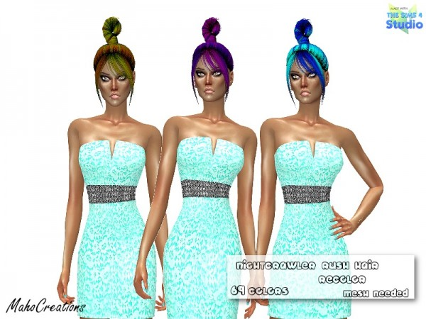 The Sims Resource: Nightcrawler`s Rush Hair Recolored by MahoCreations for Sims 4
