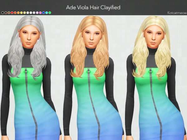 Kot Cat: Ade Viola Hair Clayified for Sims 4