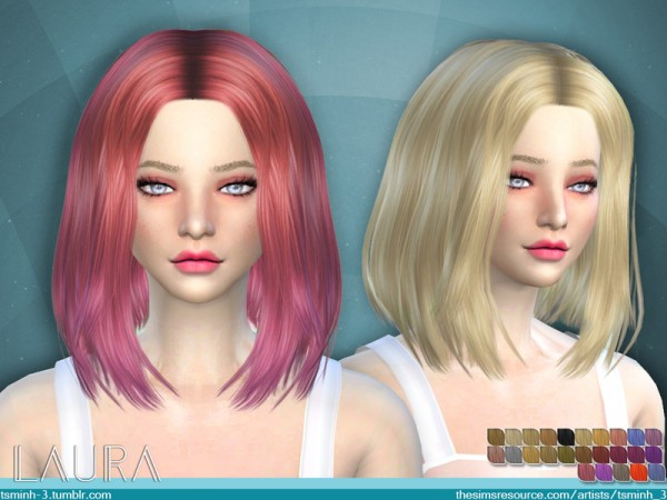 The Sims Resource: Laura hair by Tsminh 3 for Sims 4