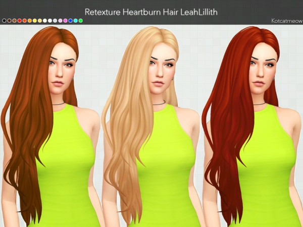 Kot Cat: LeahLillith Heartburn Hair Clayified for Sims 4