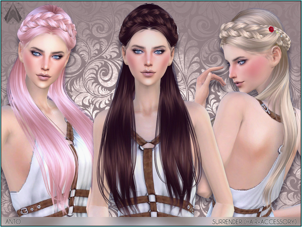The Sims Resource: Surrender Hair by Anto for Sims 4