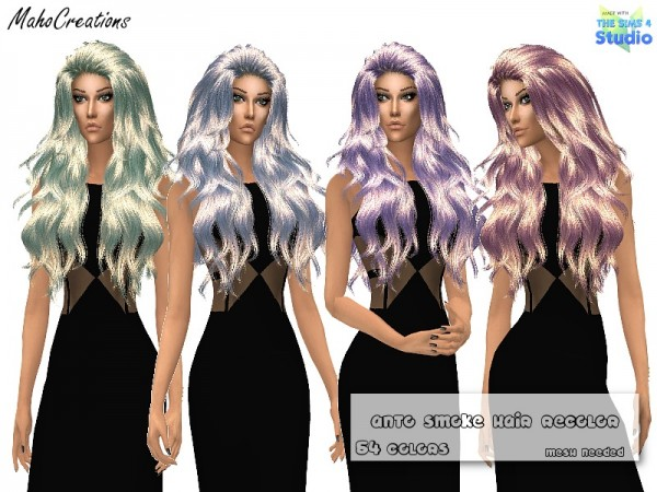 The Sims Resource: Anto`s Smoke Hair Recolored by MahoCreations for Sims 4