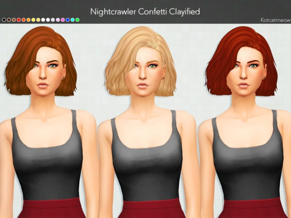 Kot Cat: Nightcrawler Confetti Hair Clayified for Sims 4