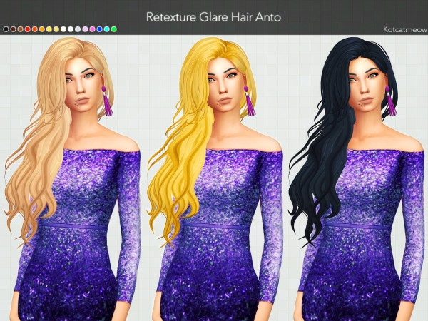 Kot Cat: Anto Glare Hair Clayified for Sims 4