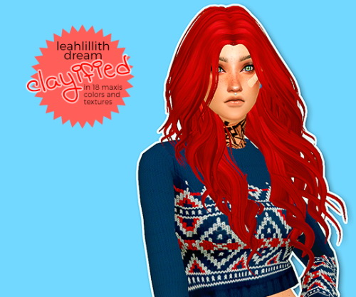 Hab Sims: Lealillith Dream Clayfield hair retextured for Sims 4