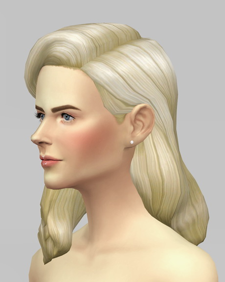 Rusty Nail: Long wavy classic hair for her V2 for Sims 4