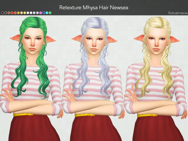 Kot Cat: +200 Followers gift! Alesso Cliche Hair and Newsea Mhysa Hair Clayified for Sims 4