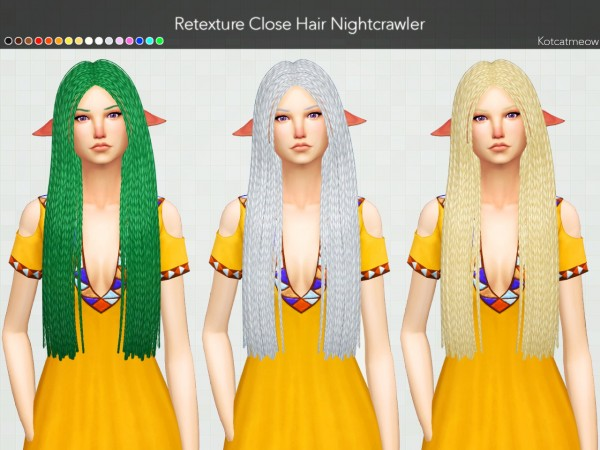 Kot Cat: Nightcrawler Close Hair Clayified for Sims 4