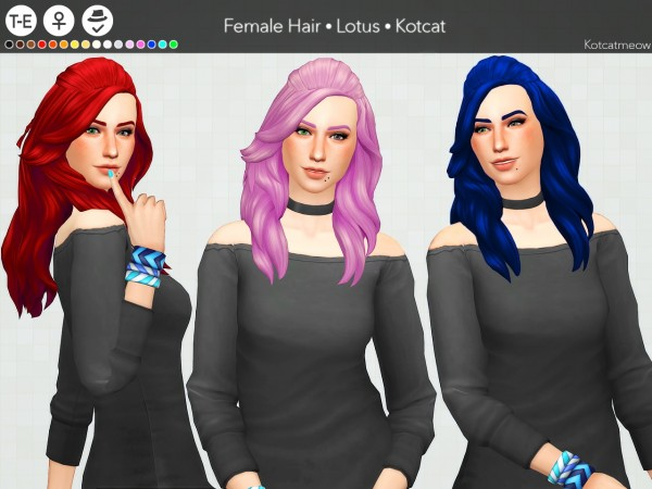 Kot Cat: Lotus hair for Sims 4