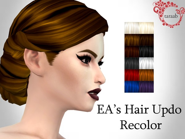 The Sims Resource: Hair Updo Recolor by taraab for Sims 4