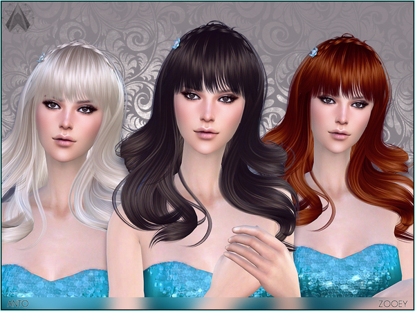 The Sims Resource: Anto   Zooey Hair for Sims 4