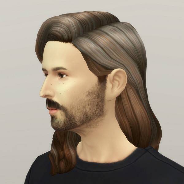 Rusty Nail: Long wavy classic hair for him V2 for Sims 4