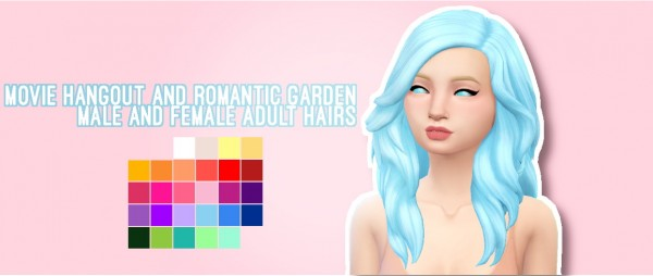 Butternut Gnocchi: Romantic Garden Hair retextured for Sims 4